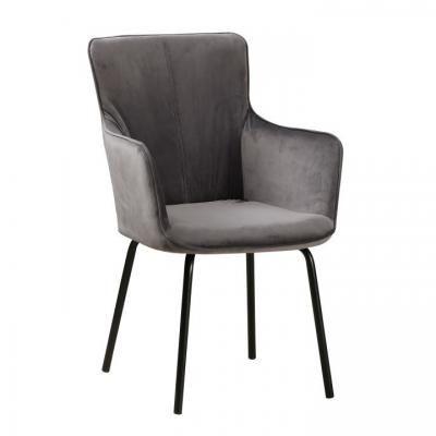 Karfás bársony szék, antracit - SISSIE